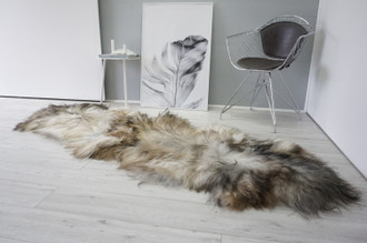 Genuine Rare Double Icelandic Sheepskin Two Pelt Rug | Wool Rug | Sheepskin Hide | Icelandic Sheepskin | Natural Long Wool - DI 82