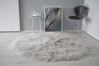 Luxurious Genuine Tibetan | Mongolian Sheepskin Round Rug | Round Sheepskin Rug | Real Wool Rug | Curly Wool | Blush Pink | White | Grey