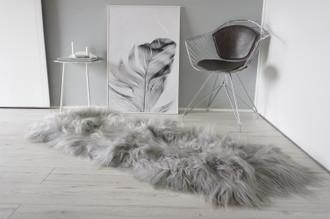 Genuine Double Icelandic Sheepskin Rug | Sheepskin Hide | Icelandic Sheepskin | Long Wool Rug | Silver | Grey Colour DR 2