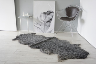 Genuine - Exclusive Swedish Gotland Double (2) Sheepskin Rug - Soft Curly Wool - Natural Grey | Silver | Ash  Mix -DR 4