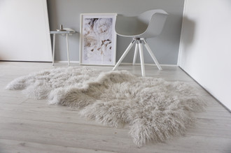 Luxurious Genuine Tibetan - Mongolian Quad (4) Sheepskin Rug | Super Soft Silky Long Curly Silver | Pale Grey Wool