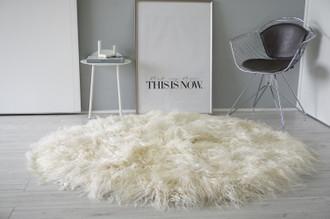Amazing Genuine Natural Mongolian Icelandic Sheepskin Rug  - Round Shape - Soft Silky Creamy White | Ivory | Champagne Curly Extra Long Wool