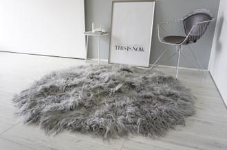 Amazing Handmade Genuine Natural Mongolian Icelandic Sheepskin Rug | Round Rug | Grey | Silver | Soft Silky Curly Extra Long Wool
