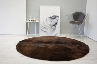 Amazing Genuine Natural Round Sheepskin Rug | Sheepskin Hide |  Thick Short Choco | Brown Soft Wool  CBR - 1