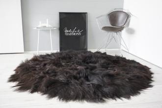 Amazing Handmade Genuine Natural Icelandic Sheepskin Rug   Round Rug   Round Shape   Soft Silky Extra Long Wool   Blacky Brown   Black