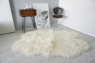 Luxurious Genuine Mongolian Icelandic Quad (4) Sheepskin Rug | Super Soft Silky Long Curly Wool | Cream White | Ivory | Champagne Mix NMQ 1