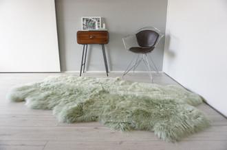 Genuine Australian Quad Sheepskin Rug    Sheepskin Hide   Extremely Soft Wool Rug   Ethically Sourced   Pale Green   Mint QAR1