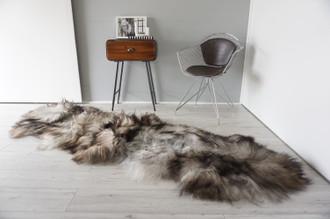 Genuine Rare Double Icelandic Sheepskin Two Pelt Rug | Ethically Sourced Sheepskin Rug | Sheepskin Hide | Extra Long Wool Rug | DIR3