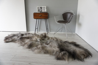 Genuine Rare Double Icelandic Sheepskin Two Pelt Rug | Ethically Sourced Sheepskin Rug | Sheepskin Hide | Extra Long Wool Rug | DIR4