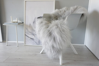 Genuine Rare Icelandic Sheepskin Rug - Soft Silky Long Wool - Dyed Silver / Grey / Ash / Tan mix