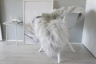 Genuine Rare Icelandic Sheepskin Rug - Soft Silky Long Wool - Dyed Silver / Grey / Ash / Tan mix