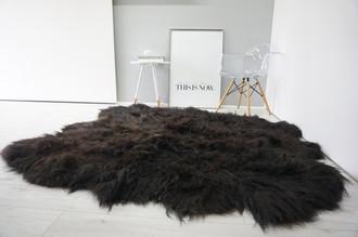 Amazing Genuine Rare Sexto Icelandic Sheepskin Rug - Soft Long Black & Brown Wool Colour - Hand Made Eco product of EU