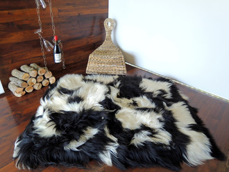 Amazing Genuine Rare Icelandic Breed - Rectangular Sheepskin Rug - Natural White / Black / Ash - eRCTI 7