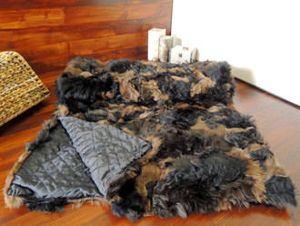 Genuine Toscana Sheepskin Blanket - Soft Dyed wool - Patchwork Style - Satin Quilted Backside - TB 3