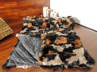 Genuine Toscana Sheepskin Blanket - Soft Dyed wool - Patchwork Style - Satin Quilted Backside - TB 6