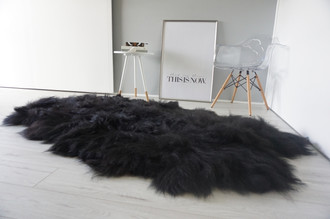 Wonderful Luxury Genuine Natural Black / Brown Quad Icelandic Sheepskin Rug