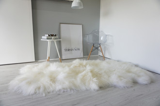 Wonderful Luxury Genuine Natural - Creamy White Quad Icelandic Sheepskin Rug Super Soft Silky Long Wool