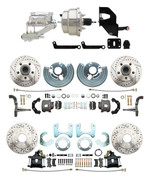 "DBK6272834LX-MP-331 1962-72 Mopar B & E Body Front & Rear Disc Brake Conversion Kit w/ Drilled & Slotted Rotors ( Charger, Challenger, Coronet) w/ 8"" Dual Chrome Booster Conversion Kit w/ Flat Top Chrome Master Cylinder & Left Mount Valve Kit"