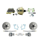 "DBK6568-GMFS3-204  - 1965-1968 GM Full Size Front Disc Brake Kit (Impala, Bel Air, Biscayne) &  8"" Dual Zinc Booster Conversion Kit w/ Cast Iron Master Cylinder Bottom Mount Disc/ Drum Proportioning Valve Kit"