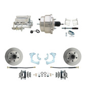 "DBK6568-GMFS3-308  - 1965-1968 GM Full Size Front Disc Brake Kit (Impala, Bel Air, Biscayne) & 8"" Dual Chrome Booster Conversion Kit w/ Flat Top Chrome Master Cylinder Bottom Mount Disc/ Drum Proportioning Valve Kit"