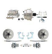 "DBK6568-GMFS3-310  - 1965-1968 GM Full Size Front Disc Brake Kit (Impala, Bel Air, Biscayne) & 8"" Dual Chrome Booster Conversion Kit w/ Chrome Master Cylinder Bottom Mount Disc/ Drum Proportioning Valve Kit"