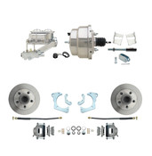 "DBK6568-GMFS3-311  - 1965-1968 GM Full Size Front Disc Brake Kit (Impala, Bel Air, Biscayne) & 8"" Dual Chrome Booster Conversion Kit w/ Chrome Master Cylinder Left Mount Disc/ Drum Proportioning Valve Kit"