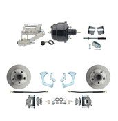 "DBK6568-GMFS3-711  - 1965-1968 GM Full Size Front Disc Brake Kit (Impala, Bel Air, Biscayne) & 8"" Dual Powder Coated Black Booster Conversion Kit w/ Chrome Flat Top Master Cylinder Left Mount Disc/ Drum Proportioning Valve Kit"