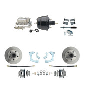 "DBK6568-GMFS3-712  - 1965-1968 GM Full Size Front Disc Brake Kit (Impala, Bel Air, Biscayne) & 8"" Dual Powder Coated Black Booster Conversion Kit w/ Chrome Master Cylinder Bottom Mount Disc/ Drum Proportioning Valve Kit"