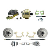 "DBK5964-GMFS2-205  - 1959-1964 GM Full Size Front Disc Brake Kit (Impala, Bel Air, Biscayne) & 8"" Dual Zinc Booster Conversion Kit w/ Cast Iron Master Cylinder Left Mount Disc/ Drum Proportioning Valve Kit"