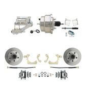 "DBK5964-GMFS2-309  - 1959-1964 GM Full Size Front Disc Brake Kit (Impala, Bel Air, Biscayne) & 8"" Dual Chrome Booster Conversion Kit w/ Flat Top Chrome Master Cylinder Left Mount Disc/ Drum Proportioning Valve Kit"
