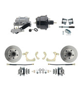 "DBK5964-GMFS2-709  - 1959-1964 GM Full Size Front Disc Brake Kit (Impala, Bel Air, Biscayne) & 8"" Dual Powder Coated Black Booster Conversion Kit w/ Aluminum Master Cylinder Left Mount Disc/ Drum Proportioning Valve Kit"