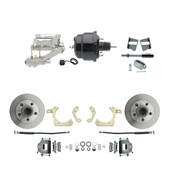 "DBK5964-GMFS2-711  - 1959-1964 GM Full Size Front Disc Brake Kit (Impala, Bel Air, Biscayne) & 8"" Dual Powder Coated Black Booster Conversion Kit w/ Chrome Flat Top Master Cylinder Left Mount Disc/ Drum Proportioning Valve Kit"