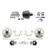 "DBK5964-GMFS2-712  - 1959-1964 GM Full Size Front Disc Brake Kit (Impala, Bel Air, Biscayne) & 8"" Dual Powder Coated Black Booster Conversion Kit w/ Chrome Master Cylinder Bottom Mount Disc/ Drum Proportioning Valve Kit"