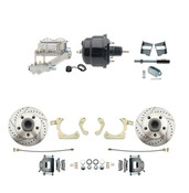 "DBK5964-GMFS2-713  - 1959-1964 GM Full Size Front Disc Brake Kit (Impala, Bel Air, Biscayne) & 8"" Dual Powder Coated Black Booster Conversion Kit w/ Chrome Master Cylinder Left Mount Disc/ Drum Proportioning Valve Kit"