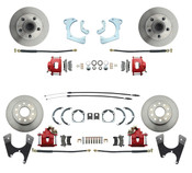 DBK59641012FS-R  - 1959-1964 Full Size Chevy Complete Front & Rear Disc Brake Conversion Kit w/ Powder Coated Red Calipers