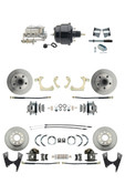 "DBK59641012FS-GMFS2-726  - 1959-1964 GM Full Size Front & Rear Power Disc Brake Kit (Impala, Bel Air, Biscayne) & 8"" Dual Powder Coated Black Booster Conversion Kit w/ Chrome Master Cylinder Bottom Mount Disc/ Drum Proportioning Valve Kit"