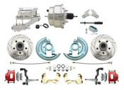 """DBK6472LXR-GM-309  - 1964-1972 GM A Body Front Power Disc Brake Conversion Kit Drilled & Slotted & Powder Coated Red Calipers Rotors w/8"""" Dual Chrome Flat Top Booster Kit"""