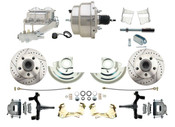 "DBK6769DLX-GM-311  - 1967-1969 F Body 1968-1974 X Body Front Power 2"" Drop Disc Brake Conversion Kit Drilled & Slotted Rotors w/ 8""Dual Zinc Booster Kit"