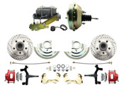 "DBK6769DLXR-GM-209  - 1967-1969 F Body 1968-1974 X Body Front Power 2"" Drop Disc Brake Conversion Kit Drilled & Slotted & Powder Coated Red Calipers Rotors w/9"" Dual Zinc Booster Kit"