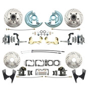 DBK64721012LX  - 1964-1972 GM A Body (Chevelle, GTO, Cutlass) Stock Height Front & Rear Disc Brake Kit w/ Drilled & Slotted Rotors