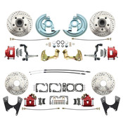 DBK64721012LX-R  - 1964-1972 GM A Body (Chevelle, GTO, Cutlass) Stock Height Front & Rear Disc Brake Kit w/ Drilled & Slotted Rotors Red Calipers