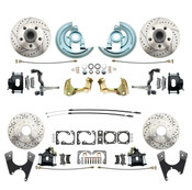 DBK64721012LX-B  - 1964-1972 GM A Body (Chevelle, GTO, Cutlass) Stock Height Front & Rear Disc Brake Kit w/ Drilled & Slotted Rotors Black Calipers