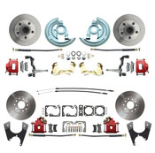 DBK64721012-R  - 1964-1972 GM A Body (Chevelle, GTO, Cutlass) Stock Height Front & Rear Disc Brake Kit Red Calipers