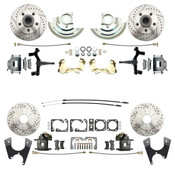 "DBK6472D1012LX  - 1964-1972 GM A Body (Chevelle, GTO, Cutlass) 2"" Drop Front & Rear Disc Brake Kit w/ Drilled & Slotted Rotors"