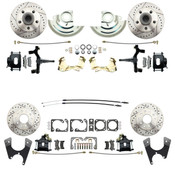 "DBK6472D1012LX-B  - 1964-1972 GM A Body (Chevelle, GTO, Cutlass) 2"" Drop Front & Rear Disc Brake Kit w/ Drilled & Slotted Rotors Black Calipers"