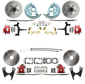 "DBK6472D1012-R  - 1964-1972 GM A Body (Chevelle, GTO, Cutlass) 2"" Drop Front & Rear Disc Brake Kit Red Calipers"