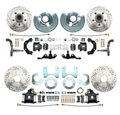 DBK6272834A-45LXB - 1962-1972 Mopar A Body Front & Rear Large Bolt Pattern Disc Brake Conversion Kit w Powder Coated Black Calipers/ Drilled & Slotted Rotors