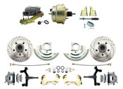"DBK6472DLX-GM-207  - 1964-1972 GM A Body Front Power 2"" Drop Disc Brake Conversion Kit Drilled & Slotted Rotors w/ 8"" Dual Zinc Booster Kit"