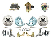 "DBK6267LX-GM-233  - 1962-1967 Nova Power Disc Brake Conversion Kit Drilled & Slotted Rotors w/ 9"" 3 Stud Booster"