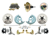 "DBK6267LXB-GM-233  - 1962-1967 Nova Power Disc Brake Conversion Kit Drilled & Slotted Rotors Powder Coated Black Calipers w/ 9"" 3 Stud Booster"